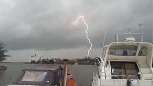 Lightning over Oulton Broad in Suffolk on Friday 3 January 2014