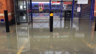 Flooding at Newbury railway station