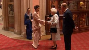 The Queen greets royal guests at Jubilee lunch