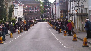 Crowds in Warwick after Freedom of Warwick at Warwick Castle