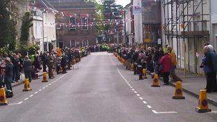 Crowds in Warwick after Freedom of Warwick at Warwick Castle