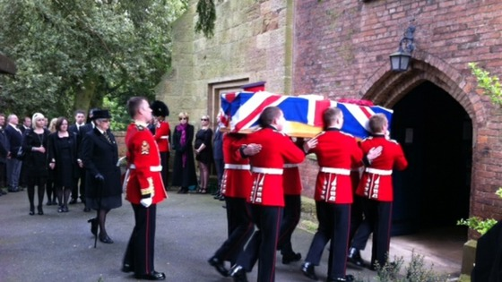 Cortège arrives at funeral of Guardsman Michael Roland in Tollerton, Nottinghamshire