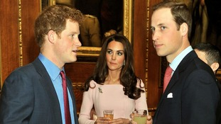 The Duke and Duchess of Cambridge talks to Prince Harry before Jubilee lunch