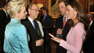 he Duke and Duchess of Cambridge talk to the Prince and Princess of Monaco