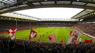 A view of the match from the Spion Kop during the FA Cup Third Round match at Anfield, Liverpool