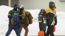 Packers fans bundled up for the cold weather