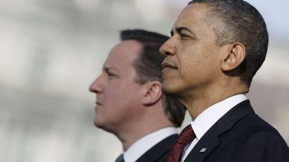 President Barack Obama and British Prime Minister David Cameron outside the White House in March 2012