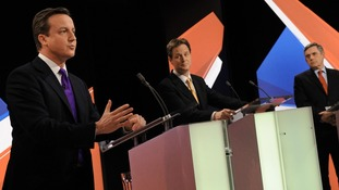 David Cameron, Nick Clegg and former Prime Minister Gordon Brown on the Sky News leaders' debate.