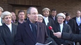 Courting the media: Barristers protest at legal aid cuts
