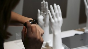 A visitor to the Consumer Electronics Show in Las Vegas tried on a Lifeband Touch