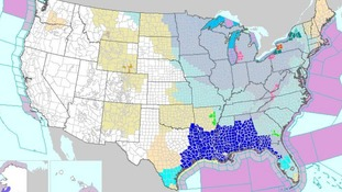 Large parts of the eastern US have been issued freeze warnings (coloured blue)