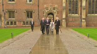 The Duke was greeted at St John's College.