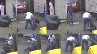 CCTV images of Craig Kinsella being pushed over and kicked.