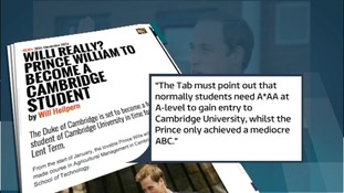 'The Tab' student newspaper was critical of William's academic credentials.