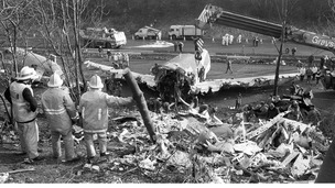 Aftermath of the air disaster on the M1 motorway at Kegworth in Leicestershire