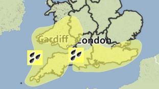 Heavy rain warnings in southern England and Wales