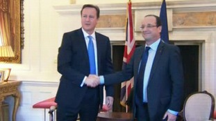 Prime Minister David Cameron meets French President Francois Hollande in Washington