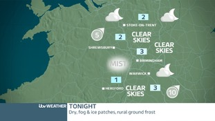 TONIGHT WEST MIDLANDS: Mist patches and frosty