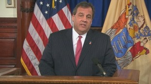 New Jersey Governor Chris Christie speaking to press.