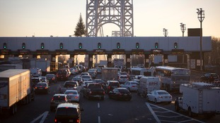 A traffic jam at the George Washington Bridge toll booths in Fort Lee, New Jersey.