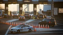 The George Washington Bridge toll booths pictured in Fort Lee, New Jersey.