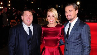 Jonah Hill, Margot Robbie and Leonardo DiCaprio at the UK Premiere of The Wolf of Wall Street.