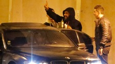 Controversial French humorist Dieudonne M'bala M'bala waves to fans at the Zenith concert hall in Nantes.