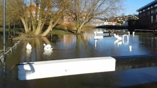 The edge of the canal at the Diglis can no longer be seen