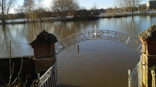 The entrance to the Diglis Hotel is completely under water