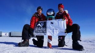 Prince Harry flies Northumberland flag at South Pole
