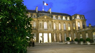 The exterior of the Elysee Palace.