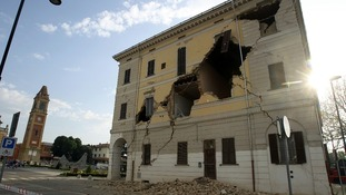 The Town Hall building on Sant' Agostino near Ferrara damaged today's earthquake