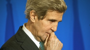 File photo of John Kerry pictured during the press conference in Paris.