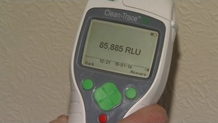 A monitor shows high levels of biological decontamination