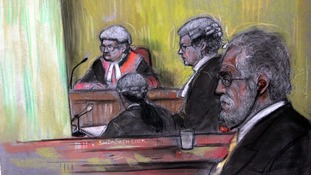 Court artist sketch of DJ Dave Lee Travis at Southwark Crown Court