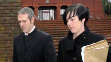 Stewart Sutherland and his wife Natasha leave Telford Magistrates' Court in Shropshire