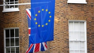 European Union flag and Britain's Union flag