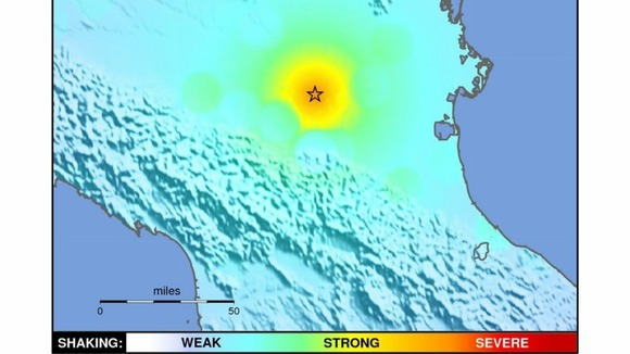 &#x27;Shakemap&#x27; showing the strength of Italian quake