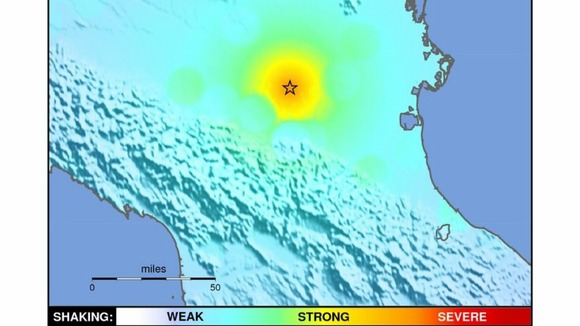 'Shakemap' showing the strength of Italian quake