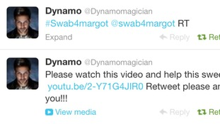 Dynamo tweets the video appeal for @swab4margot
