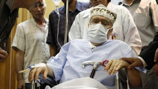 Abdel Basset al-Megrahi seen in his room at a hospital in Tripoli in 2009