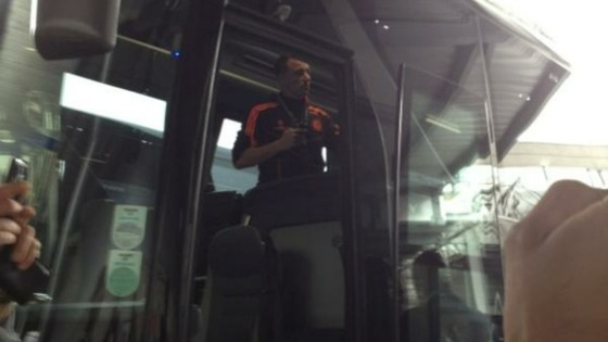 John Terry on the coach shortly after arriving back in Britain