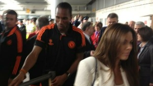 Didier Drogba has been in an out of the Heathrow terminal building to see his children