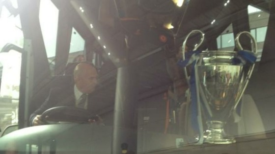 Chelsea and the Champions League cup are leaving Heathrow. The cup is delicately balanced.