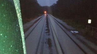 Flooded railway lines at Bletchingley Tunnel