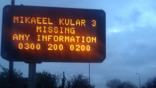 A sign appealing to motorists for information about Mikaeel's disappearance