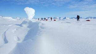 Expedition members in their quest for the South Pole