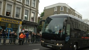Chelsea  arrive at Stamford Bridge ahead of their parade