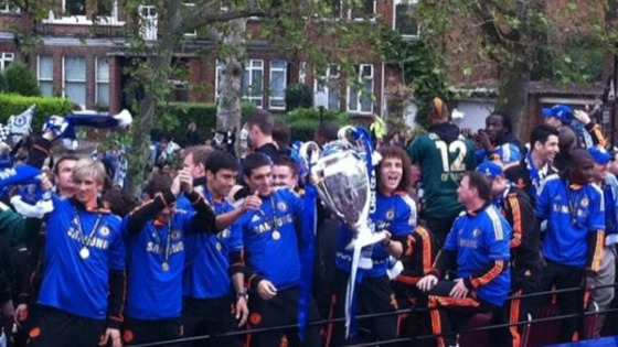 Chelsea boys with the trophy they have been chasing so long