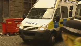 A police van arrives at Edinburgh Sheriff Court.